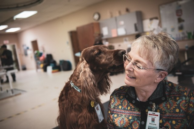 Therapy dog nuzzling therapist