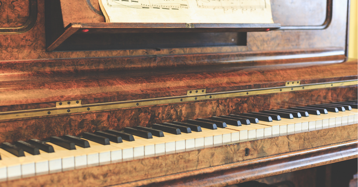 Close up image of a unique wood piano
