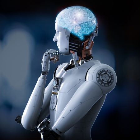 Android robot thinking