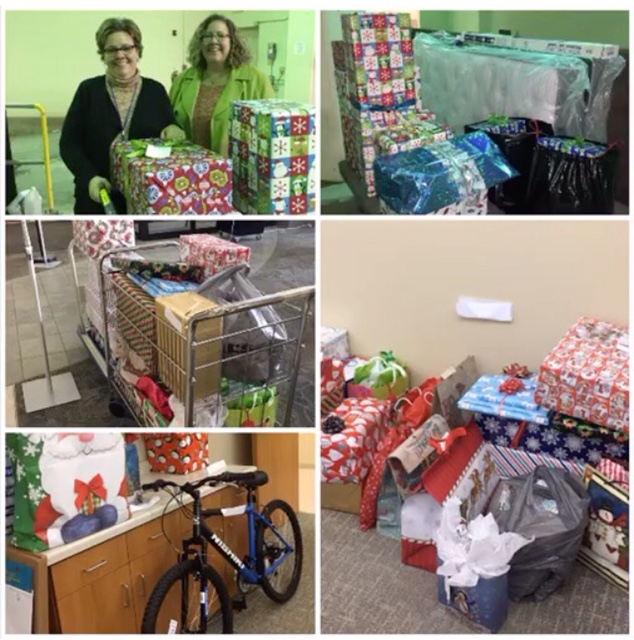 Photo collage showing gift donations and wrapping of gifts