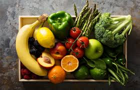 fruits and vegetables on a tray